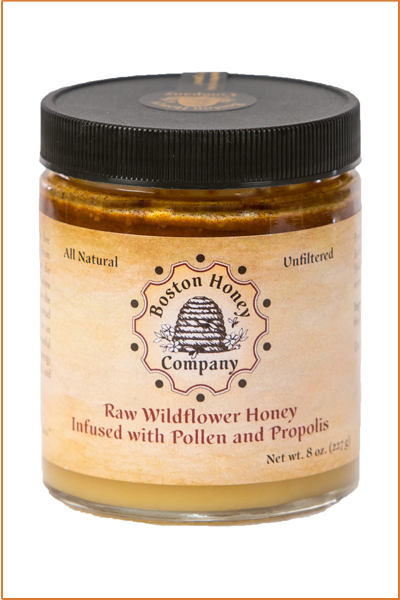 WILDFLOWER HONEY INFUSED WITH POLLEN AND PROPOLIS (8 oz jar)